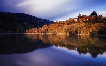 the sky, trees, water, lake, nature, forest, reflection, landscape, autumn, scotland