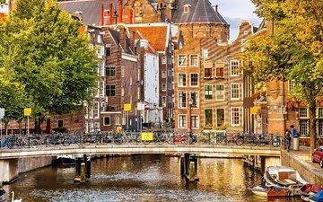 деревья, люди, мост, город, осень, лодки, канал, дома, здание, велосипеды, амстердам, nederland