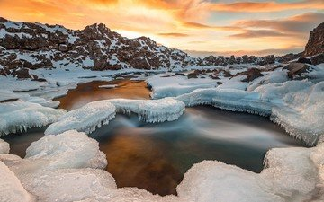 river, rocks, nature, winter, landscape, ice