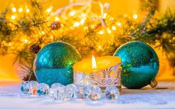новый год, шары, свеча, рождество, елочные украшения, гирлянда, мишура, viktoriya gaman