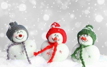 зима, фигурки, снеговики