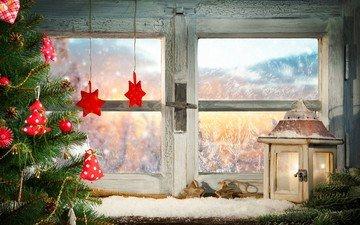 снег, новый год, елка, фонарь, окно, рождество