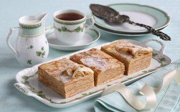 tea, breakfast, pancakes
