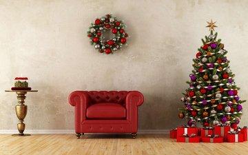 новый год, елка, подарки, комната, рождество