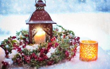 снег, новый год, украшения, фонарь, свеча, рождество, венок