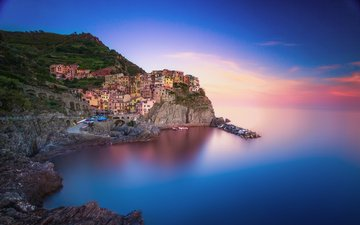море, скала, город, италия, манарола, remush lerner