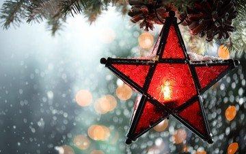 новый год, елка, зима, звезда, свеча, рождество, боке, снегопад