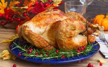 ягоды, мясо, рождество, тарелка, тыква, курица, специи, клюква, жареная курочка