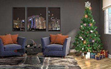 новый год, елка, подарки, вино, рождество