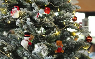 новый год, елка, шары, мишка, рождество, снеговики, елочные украшения, гирлянда