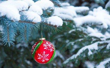снег, новый год, елка, хвоя, шар, рождество, елочная игрушка