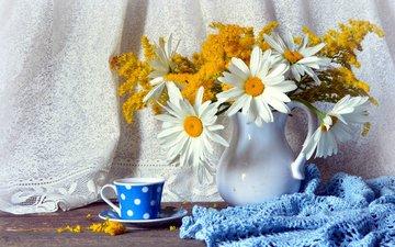 цветы, ромашки, букет, чашка, салфетка, кувшин, натюрморт, мимоза