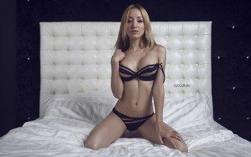 girl, blonde, model, linen, in bed