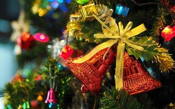 das neue jahr, weihnachtsbaum, glocken, weihnachten