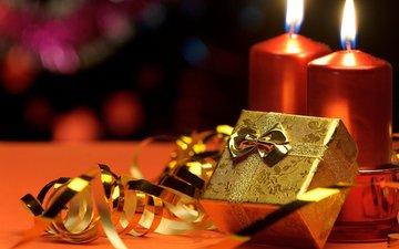 свечи, новый год, подарки, рождество