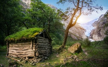 trees, mountains, nature, moss, the barn, hut