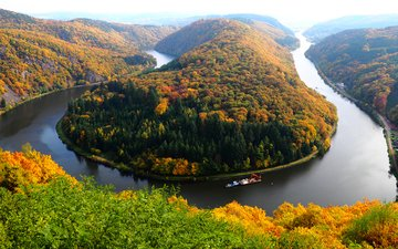 river, nature, forest, autumn, germany, saar