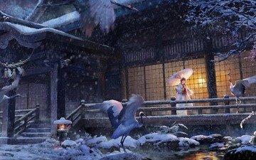 арт, девушка, аниме, птицы, зимний сад