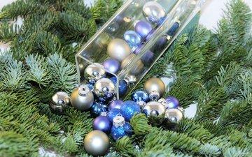 das neue jahr, weihnachtsbaum, kugeln, needles, weihnachten, weihnachtsschmuck