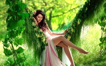 grass, trees, greens, leaves, girl, pose, brunette, model, legs, makeup, hairstyle, swing, bokeh, pink dress, vines