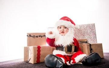 подарки, дети, ребенок, мальчик, младенец, санта