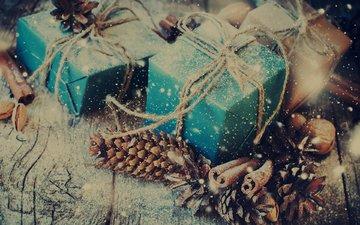 новый год, подарки, рождество, шишки