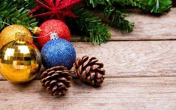 das neue jahr, kugeln, weihnachten, beulen, hölzerne oberfläche