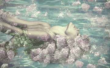 flowers, water, girl, roses, closed eyes