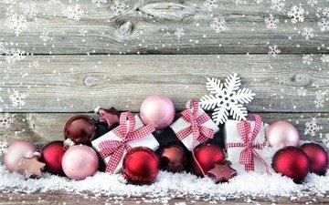 снег, новый год, шары, снежинки, звезды, подарки, рождество, елочные игрушки