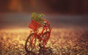 корзина, растение, велосипед, фигурка