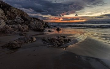 the sky, clouds, rocks, sunset, sand, beach, coast, the ocean