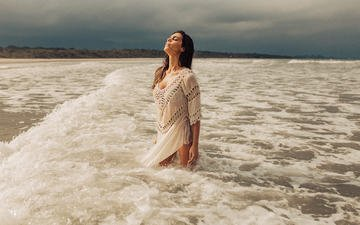 the sky, wave, girl, dress, beach, model, closed eyes, henrique cesar