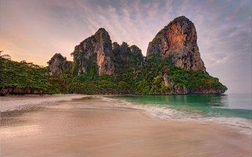 trees, rocks, nature, stones, sand, beach, coast, thailand, tropics, tide, the andaman sea