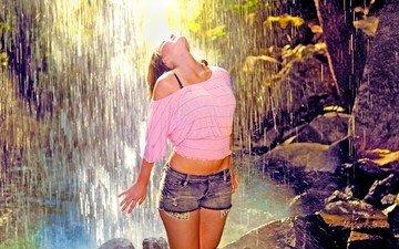 forest, girl, brunette, waterfall, model, jungle, photoshoot, sunlight, denim shorts