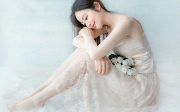 цветы, девушка, улыбка, модель, букет, азиатка, белое платье
