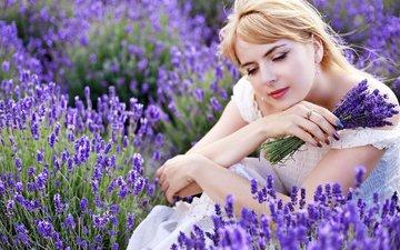 flowers, girl, lavender, hair, face, makeup, white dress, manicure, olena zaskochenko