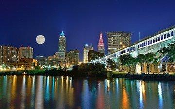 ночь, огни, мост, город, огайо, сша, кливленд