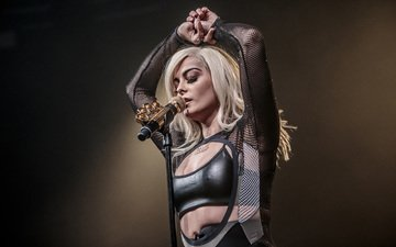 microphone, music, singer, closed eyes, singing, bebe rexha, bebe rex