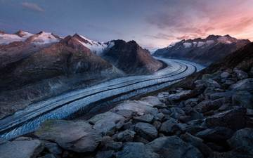 the sky, mountains, snow, nature, stones, sunset, switzerland, alps, top, glacier, mountain range, bettmeralp