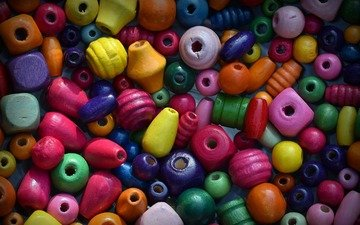 colorful, beads, bright, wooden