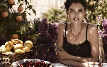 decoration, girl, fruit, look, model, hair, face, berries, bianca balti