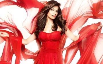 girl, look, hair, face, actress, red dress, bollywood, bipasha bass, bollywood actress