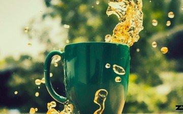 напиток, капли, брызги, размытость, кружка, чай