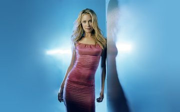 girl, blonde, look, model, hair, face, actress, long hair, celebrity, pink dress, kristanna loken