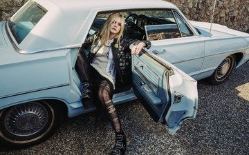 blonde, model, sitting, stockings, actress, car, jacket, shoes, el fanning, olivia malone, elle fanning