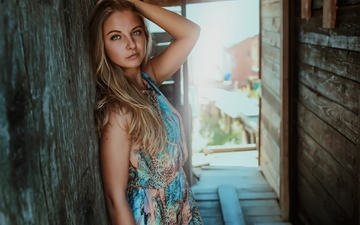 girl, dress, blonde, look, hair, face, blue-eyed, pedro courelas