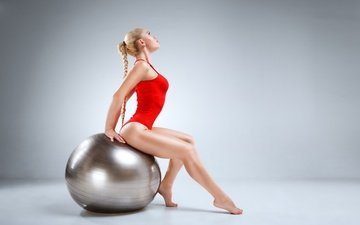 pose, blonde, ball, sport, braid, the ball, swimsuit, fitness, gymnastics, fitball