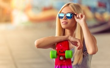 girl, blonde, hair, face, hands, skateboard, sunglasses, pink lipstick