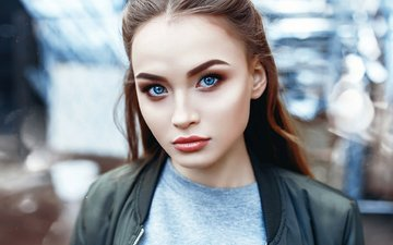 girl, portrait, look, red, model, hair, face, blue eyes, anastasia lis