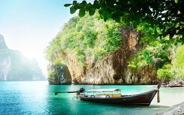 rocks, nature, landscape, sea, beach, boat, bay, thailand, tropics